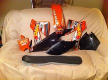 KTM Dirt Bike Full set of plastics & matching seat cover w/ hot wheels graphics in Duncan, Oklahoma