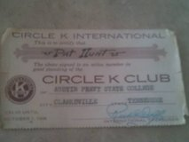 1956 Austin Peay Circle K membership Card in Dover, Tennessee